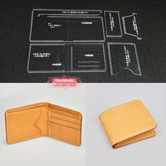 Leather Card clip / Wallet / Purse Acrylic Template - 1 size for choose, Leathercraft Pattern - Beutel Ideen Leather Craft Tools, Leather Projects, Diy Wallet, Purse Wallet, Coin Purse, Leather Glasses Case, Leather Bag Pattern, Handmade Leather Wallet, Purse Patterns