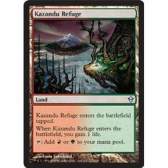 Magic: the Gathering - Kazandu Refuge (217) - Zendikar by Wizards of the Coast. $0.99. This is of Uncommon rarity.. A single individual card from the Magic: the Gathering (MTG) trading and collectible card game (TCG/CCG).. From the Zendikar set.. Magic: the Gathering is a collectible card game created by Richard Garfield. In Magic, you play the role of a planeswalker who fights other planeswalkers for glory, knowledge, and conquest. Your deck of cards represents all ...