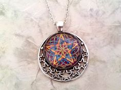 Pentacle Glass Tile Art Pendant Hand Crafted in Silver Setting ~Wiccan Pagan,  Protection and Spiritual Healing Artisan Jewelry Perfect Gift by IsisCreationz on Etsy