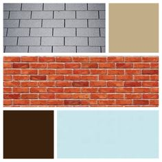 Exterior color scheme for red brick and gray roof - sky blue door, light brown siding, and dark brown shutters