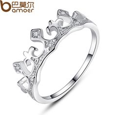 BAMOER  New Platinum Plated Crown Shape Finger Ring with AAA Zircon for Women Engagement Fashion Jewelry YIR054