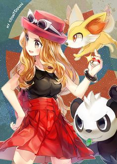 Less than a month till pokemon x and y!!! I can't wait!! —the new Girl character, new starter Fennikin, and new Pokémon Panchan!