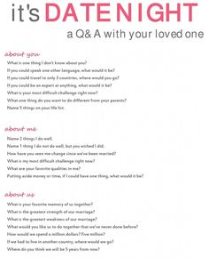 It's Date Night: a Q&A With Your Loved One