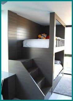 34 Charming Kids Bedroom Design Ideas For Dream Homes Kids Bedroom Ideas Bedroom charming design Dream Homes Ideas Kids Bunk Beds For Boys Room, Bed For Girls Room, Bunk Bed Rooms, Bunk Beds Built In, Modern Bunk Beds, Cool Bunk Beds, Bunk Beds With Stairs, Bedroom Loft, Home Bedroom