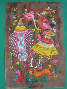 paintings of mexicn culture | ... Bark Painting - Mexican Folk Art - Latin - Mexican Folk Art Craft