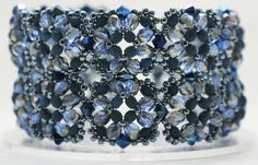 """Deb Roberti""""s Tuscan Cuff Bracelet Pattern done in shades of Navy Blue."""