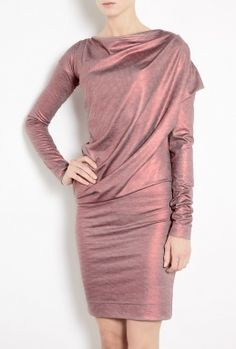 Red Metallic Toga Drape Dress by Vivienne Westwood Anglomani