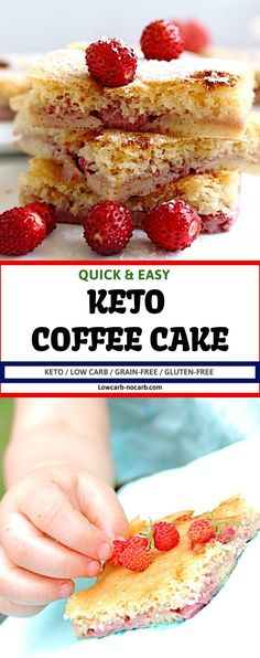 Soft and light in texture and loved by all, this Keto Berry Coffee Cake is the TOP of the POP the whole summer long. Sugar Free Desserts, Low Carb Desserts, Low Carb Recipes, Keto Dessert Easy, Dessert Recipes, Party Recipes, Cake Recipes, Low Carb Breakfast, Healthy Breakfast Recipes