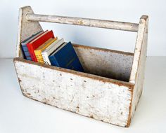 vintage wooden tool box tote - garden decor - cottage shabby - chippy white paint. $40,00, via Etsy.