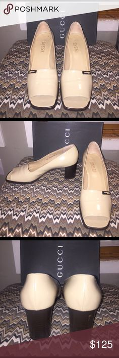 "Gucci tan patent Leather open-toe pump Authentic Gucci open toe pump with square heel. Gently used with some signs of wear. Heel height is 2 3/4"". Gucci Shoes Heels"