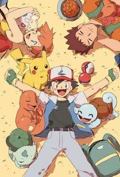 Pokemon trainer Ash,Brock and Misty