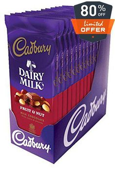 #Cadbury Dairy Milk Fruit & Nut Milk Chocolate Bars - The Original Old World Candy Bar. Velvety smooth milk chocolate with raisins & almonds. Ireland's favorite ...