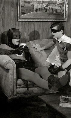 Adam West & Burt Ward on the Bat-Set (1966) by Richard Hewitt for Look Magazine