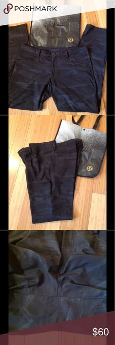 "Lululemon ABC  Men Pants size 40 Lululemon ABC  CAMO Men Pants size 40, inseam 34"" excellent condition, small black logo, this pants can be used for office, Gym and casual wear, black and grey color . lululemon athletica Pants"
