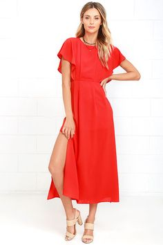 Everyone will be speechless when you show up in the Don't Speak Coral Red Midi Dress! Gauzy poly creates a classic silhouette with a billowing bodice, rounded neckline, and short butterfly sleeves. Fitted waist and full midi skirt. Exposed silver back zipper with clasp.