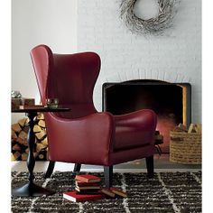Garbo Leather Wingback Chair in Chairs   Crate and Barrel...w/Garbo Leather Ottoman