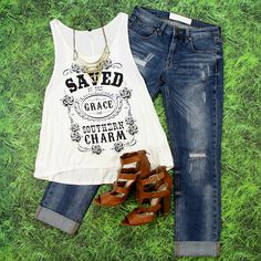 Shop this Southern Charm Graphic Tank in Ivory at Entourage! $17 with FREE SHIPPING!