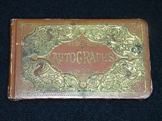 Antique Leather Bound Autograph Correspondence Book Full of Writings from 1885