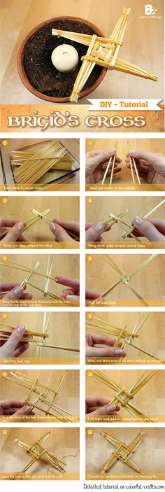 #DIY Brigid's Cross Tutorial How to make a straw cross for Imbolc #Candlemas