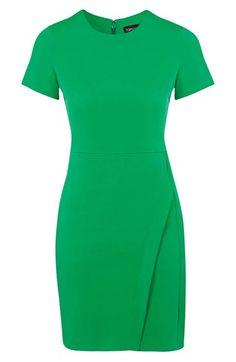 Green Short Sleeve Shift Dress with asymmetrical wrap skirt Topshop
