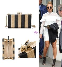Beyoncé holding KATE SPADE Down The Rabbit Hole Bee Clasp Clutch ($328)