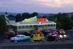 Car Club Rally. Road Island Diner--rennovated