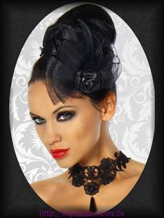 Burlesque Mini Hut schwarz Rose Schleife Spitze Gothic Lolita PinUp Hochzeit