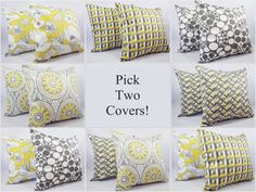 Pick Your Own Yellow and Grey Pillow Covers by CastawayCoveDecor, $28.00 Yellow Pillow Covers, Grey Throw Pillows, Toss Pillows, Throw Pillow Covers, Decorative Throw Pillows, Yellow Couch, Yellow Pillows, Geometric Pillow, Living Room Bedroom