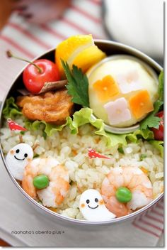Cute! Shrimp & Pea Snail Kyaraben Bento Lunch