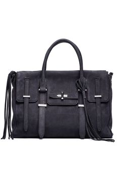 [Picked from Rent The Runway] Navy nubuck satchel with antique silver hardware. Magnetic snap closure and 3 interior slip pockets. 4″ handle drop and 24″ adjustable shoulder strap. 11″W x 9″H x 4.5″D. $89.00 Buy It Now !