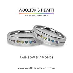 A very special engagement ring or lesbian / gay pride ring finished to perfection with six real diamonds in the colours of the LGBT rainbow. #gaypride #gayflag #gayrainbowring #gayring #lesbianring #engagementring #weddingring