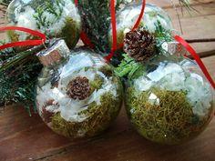 Terrarium Christmas Ornament Handmade - Natural Moss Terrarium in a Clear Ball, Woodland Snow Globe