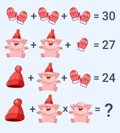 Can you solve this Viral Puzzle which is popularly known as Pig, Glove and Cap Puzzle. This Pig, Glove and Hat Puzzle is very popular and very few people abl. Math Logic Puzzles, Math Quizzes, Mind Puzzles, Brain Riddles, Quiz With Answers, Math Challenge, Interactive Posts, Math Questions, Christmas Math