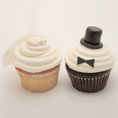 Bride and groom cupcakes! Cupcakes for my wedding! Wedding Cakes With Cupcakes, Cute Cupcakes, Cupcake Cakes, Cupcake Wedding, Cup Cakes, Engagement Party Cupcakes, Bride Cupcakes, Tuxedo Cupcakes, Winter Wedding Cupcakes