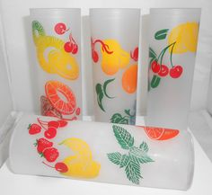 Federal Glass Frosted Mixed Fruit 1950's Tall by Libbysmomsvintage