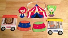 Circus finger puppet set embroidered, play set, puppets, pretend play, game, toy, travel, busy game, quiet game, make believe, kids, child by DesignsByRAJA on Etsy