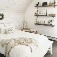 Farmhouse bedroom with shiplap
