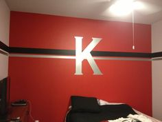 My sons new room! Metal K with stripes! (Teenage boys room)