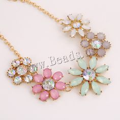 Resin Necklace, Zinc Alloy, with iron chain & Resin, with 5cm extender chain, Flower, gold color plated, oval chain & colorful plated & faceted & with rhinestone, lead & cadmium free, 155x45mm,china wholesale jewelry beads