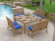 Eastchester 5 Pc. Solid Teak Bench Dining Set with 59 Square Table