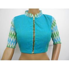 Blue Mangalgiri cotton and Ikat highneck blouse with zipper (size 34, margin to increase to 42)