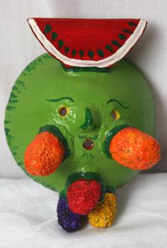 Vintage Hand Painted Coconut Mask Fruits and Vegetables Mexico Folk Art