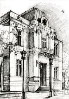 Drawing by Adelina Popescu. I hope I'll be able to sketch a nice building like this.