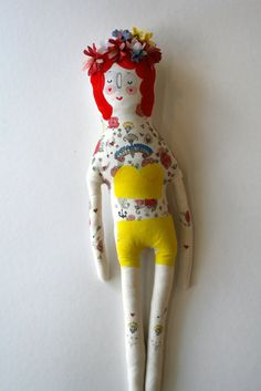 Painted Lady- Circus Performer- Handmade Art Doll- Painted Plush- Vintage Inspired