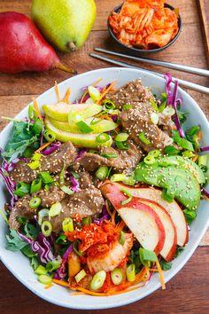 Korean Bulgogi and Pear Kale Salad