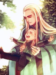 Giggling Little Legolas and his doting Ada Thranduil