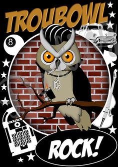 Greaser owl graphic design in comic style, in black basic.