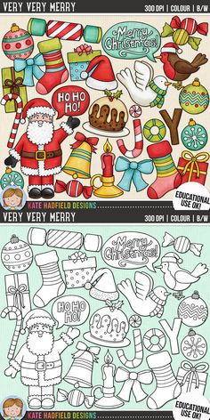 Fun Christmas Clip Art for teachers by Kate Hadfield Designs | Teachers Pay Teachers. Supplied in both hand-painted coloured versions and black and white outlines! #katehadfielddesigns
