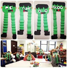 Halloween Frankenstein art lesson project - special education - elementary age student artwork- a focus on fine motor skills