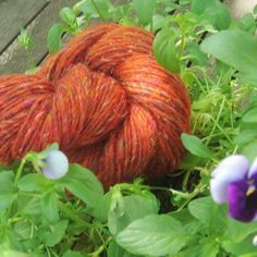 Wool and Recycled Silk yarn - Orange 84 on Etsy, $6.75